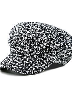 billige Hatter til damer-Unisex Kontor Beret Solhatt Sixpence Baseballcaps Ensfarget Bomull Polyester