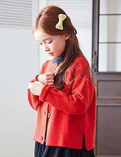 billige Sweaters og cardigans til piger-Pige Trøje og cardigan Daglig Ensfarvet, Akryl Forår Langærmet Vintage Rød Gul Rosa Lysegrå Marineblå