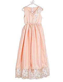 billige Pigekjoler-Pigens Kjole Daglig Ensfarvet, Polyester Forår Uden ærmer Sødt Hvid Orange Lyserød Rosa