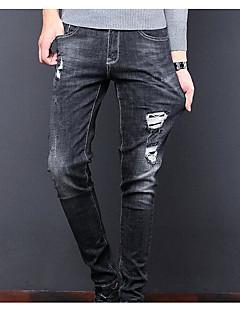 billige Herrebukser og -shorts-Herre Enkel Jeans Bukser Ensfarget