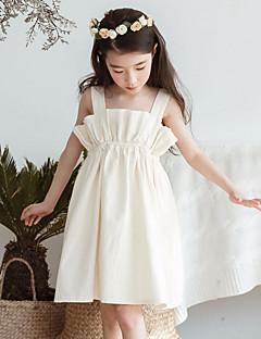 tanie Odzież dla dziewczynek-Sukienka Poliester Dziewczyny Codzienny Kwiaty Lato Bez rękawów Prosty Beige Yellow