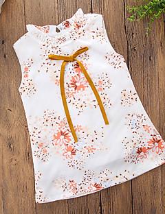 billige Pigekjoler-Pigens Kjole Daglig I-byen-tøj Blomstret, Bomuld Polyester Sommer Uden ærmer Simple Afslappet Regnbue
