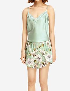 billige Moteundertøy-Dame Sateng og silke Pyjamas - Blomstret, Blonde