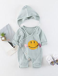 billige Babytøj-Baby Unisex En del Daglig Ensfarvet Ruder, Bomuld Forår Sommer Halvlange ærmer Sødt Aktiv Lyserød Lysegrøn