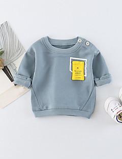 billige Babytøj-Baby Unisex T-shirt Daglig Ensfarvet, Bomuld Forår Sommer Langærmet Simple Afslappet Orange Lyseblå