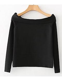 billige Overdele til damer-Bateau-hals Dame-Ensfarvet Gade T-shirt
