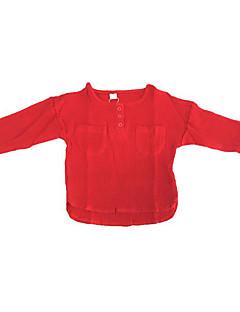 billige Hættetrøjer og sweatshirts til piger-Pige Hættetrøje og sweatshirt Daglig Ensfarvet, Polyester Forår Langærmet Simple Grøn Hvid Rød