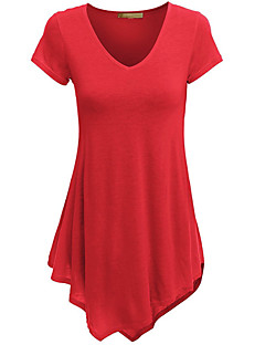 cheap Women's Tops-Women's T-shirt - Solid Colored V Neck