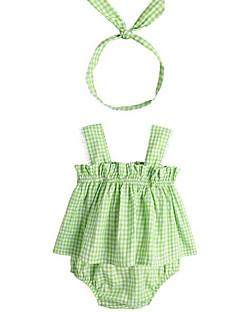 billige Sett med babyklær-Baby Pige Tøjsæt Daglig Geometrisk, Polyester Sommer Uden ærmer Basale Grøn Lyserød
