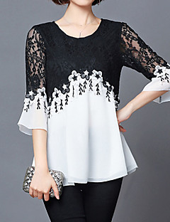 cheap -Women's Holiday Sexy Street chic Plus Size Loose Blouse - Color Block, Lace Black & White