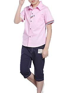 billige Tøjsæt til drenge-Drenge Daglig Ferie Ensfarvet Trykt mønster Tøjsæt, Bomuld Polyester Sommer Kortærmet Aktiv Basale Blå Hvid Lyserød
