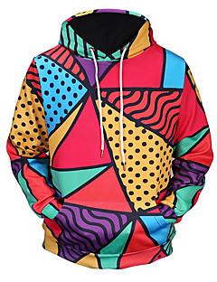 billige Herremote og klær-Herre Med hette Lang Hattetrøje - Trykt mønster, Fargeblokk