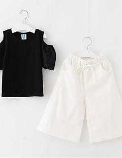 billige Tøjsæt til piger-Pige Fest Daglig Ensfarvet Trykt mønster Tøjsæt, Bomuld Polyester Sommer Kortærmet Sødt Aktiv Blå Sort