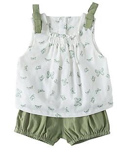 billige Sett med babyklær-Baby Pige Jacquard Vævning Uden ærmer Tøjsæt