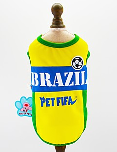 billiga Hundkläder-Hund Katt Husdjur Tröja Hundkläder Färgblock Slogan Broderi Gul Nät Kostym För husdjur Herr Sport och utomhus Euramerikansk