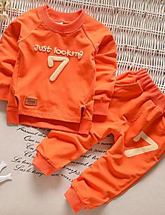 billige Tøjsæt til piger-Unisex Ensfarvet Langærmet Tøjsæt