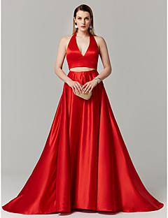 billiga Aftonklänningar-A-linje Prinsessa Tvådelad Halterneck Svepsläp Satäng Cocktailfest / Bal / Formell kväll / Helgdag Klänning med Rosett(er) av TS Couture®