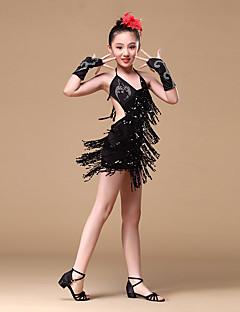 tanie Stroje do tańca latino-Taniec latynoamerykański Suknie Dla dziewczynek Szkolenie Wydajność Poliester Koraliki Cekiny Frędzel Bez rękawów Ubierać