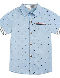 billige Overdele til drenge-Drenge Daglig Trykt mønster Skjorte, Bomuld Polyester Forår Efterår Kortærmet Basale Lyserød Navyblå Lyseblå