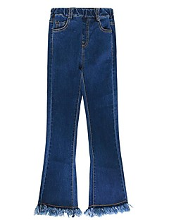 billige Bukser og leggings til piger-Ensfarvet Pigens Daglig Ferie Bomuld Polyester Forår Sommer Kjole Sødt Aktiv Blå