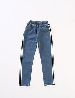 billige Bukser og leggings til piger-Stribet Pigens Daglig Ferie Bomuld Polyester Forår Sommer Kjole Sødt Aktiv Blå