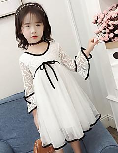 tanie Odzież dla dziewczynek-Sukienka Dziewczyny Jendolity kolor Wiosna Jesień Urocza White Blushing Pink Jasnoszary