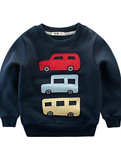 billige Hættetrøjer og sweatshirts til drenge-Drenge Daglig Trykt mønster Hættetrøje og sweatshirt, Polyester Forår Langærmet Sødt Blå Grå