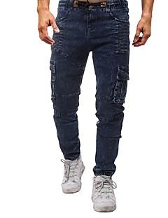 billige Herrebukser og -shorts-Herre Grunnleggende Store størrelser Tynn Jeans / Chinos Bukser Ensfarget