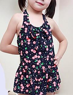 billige Badetøj til piger-Pige Sødt Trykt mønster Badetøj, Polyester Nylon Uden ærmer Sort