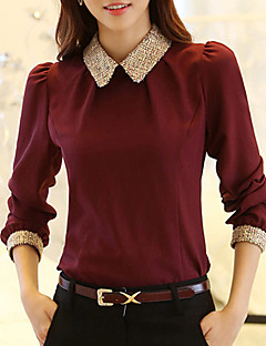 cheap Women's Blouses-Women's Street chic Blouse - Solid Colored Shirt Collar