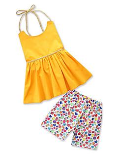 billige Tøjsæt til piger-Børn Baby Pige Ensfarvet Trykt mønster Uden ærmer Tøjsæt
