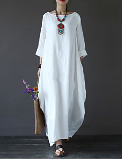 cheap Clearance-Women's Plus Size Holiday / Weekend Maxi Loose Swing Dress - Solid Colored White Spring Cotton Black Red Light Blue XXXL 4XL XXXXXL