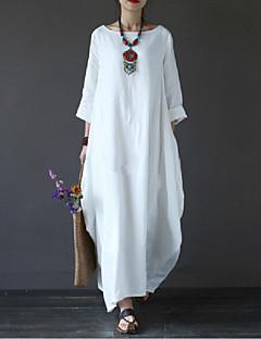رخيصةأون تسوق حسب الموديلات-فستان نسائي قياس كبير متموج قطن طويل للأرض فضفاض أبيض لون سادة مناسب للعطلات