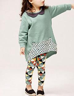 billige Tøjsæt til piger-Pige Tøjsæt Daglig Rayon Forår Efterår Langærmet Punkt Grå Lys Grøn