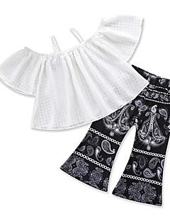 billige Tøjsæt til piger-Pige Fest Daglig Geometrisk Trykt mønster Tøjsæt, Bomuld Polyester Sommer Kortærmet Sødt Boheme Hvid