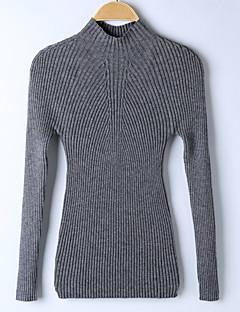 tanie Swetry damskie-Damskie Wyjściowe Solidne kolory Długi rękaw Szczupła Regularny Pulower, Golf Wiosna / Zima Żółtobrązowy / Szary / Wino M / L / XL