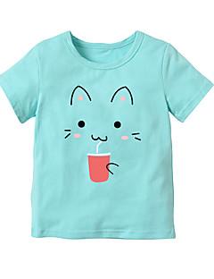 billige Pigetoppe-Pige Daglig Skole Stribet Trykt mønster T-shirt, Bomuld Rayon Sommer Kortærmet Sødt Aktiv Sort Rød Lyserød Regnbue Lyseblå