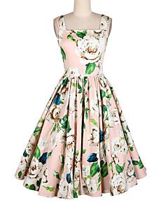 billige Vintage-dronning-Dame Ferie Vintage A-linje Kjole - Blomstret, Trykt mønster Knælang Med stropper Firkantet hals