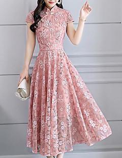 お買い得  レディースドレス-女性用 プラスサイズ ベーシック スウィング ドレス - レース, フラワー ミディ スタンド