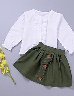 tanie Odzież dla dziewczynek-Dla dziewczynek Jendolity kolor Komplet odzieży, Bawełna Wiosna Długi rękaw Army Green