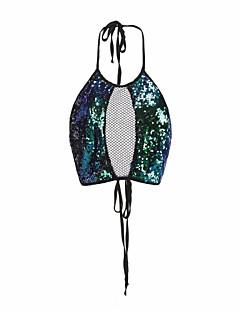 baratos Blusas Femininas-Mulheres Malha Íntima - Bandagem Feriado Básico Paetês, Sólido Assimétrico Solto