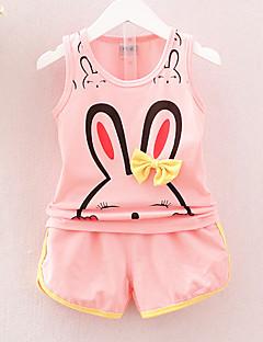 tanie Odzież dla dziewczynek-Dla dziewczynek Codzienny Urlop Nadruk Komplet odzieży, Bawełna Akryl Wiosna Lato Bez rękawów Urocza Aktywny Blushing Pink Yellow Fuchsia