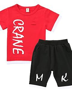 billige Tøjsæt til drenge-Drenge Daglig Trykt mønster Tøjsæt, Bomuld Polyester Forår Sommer Kortærmet Sødt Hvid Sort Rød