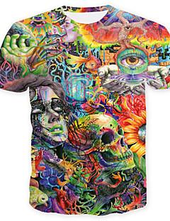お買い得  カラーブロック-男性用 プリント プラスサイズ Tシャツ スカル / ベーシック ラウンドネック 幾何学模様 / カラーブロック / スカル / 半袖