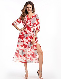 Χαμηλού Κόστους Επιλογές Συντακτών-Γυναικεία Βασικό Μανίκι Πέταλο Γραμμή Α Swing Φόρεμα - Φλοράλ, Σκίσιμο Μίντι
