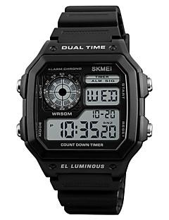 billige Digitalure-SKMEI Herre Digital Digital Watch Alarm Kalender Vandafvisende Afslappet Ur Gummi Bånd Afslappet Sej Sort