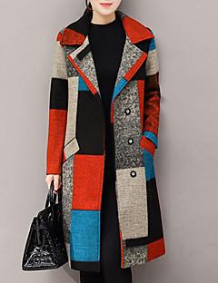 hesapli Women's Wool Coats-Kadın's Desen Kaşmir Polyester Gömlek Yaka Kış Sonbahar Sokak Şıklığı Dışarı Çıkma Normal Kaban