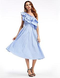Χαμηλού Κόστους SHE IN SUN-Γυναικεία Βασικό Γραμμή Α Swing Φόρεμα - Ριγέ, Δαντέλα Μίντι