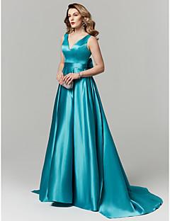 billiga Balklänningar-A-linje V-hals Hovsläp Satäng Bal / Formell kväll Klänning med Rosett(er) av TS Couture®