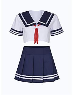 billige Nattøy til damer-Dame Uniformer og kinesiske kjoler Nattøy - Fargeblokk, Rynket